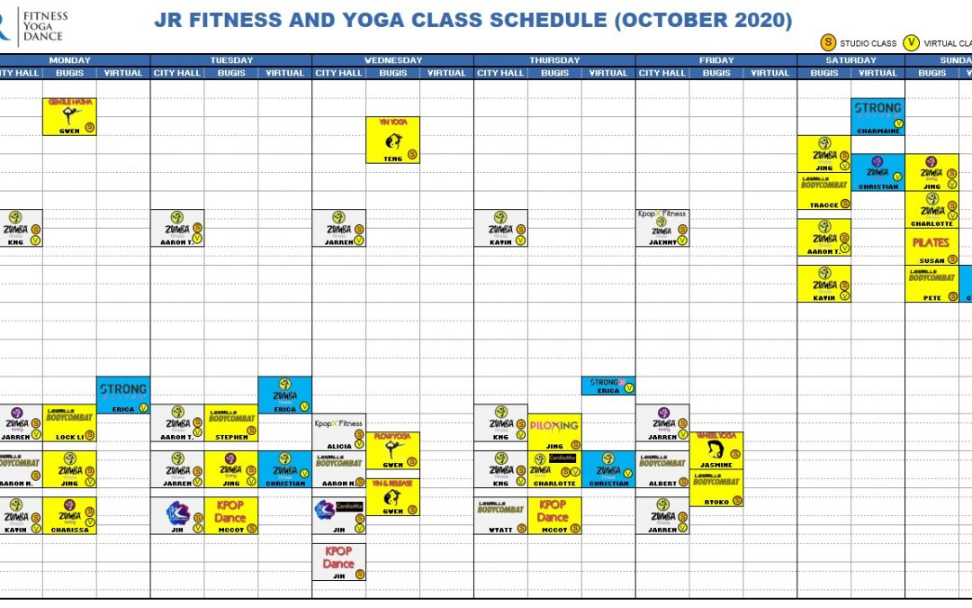 October 2020 Class Schedule